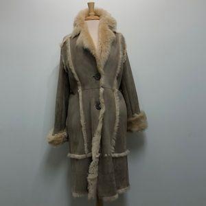 Lambskin Long Shearling Coat Large Very Warm Italy